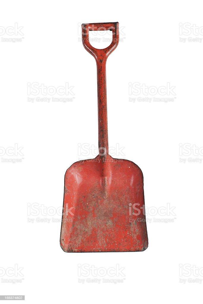 Vintage toy red metal sandbox shovel royalty-free stock photo