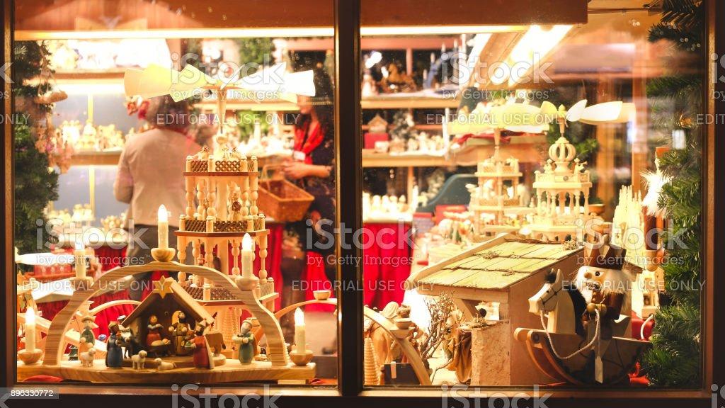 Vintage Toy Store Window Shop Christmas Market Background Royalty Free Stock Photo