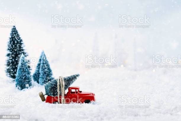 Photo of Vintage Toy Truck and Christmas Tree
