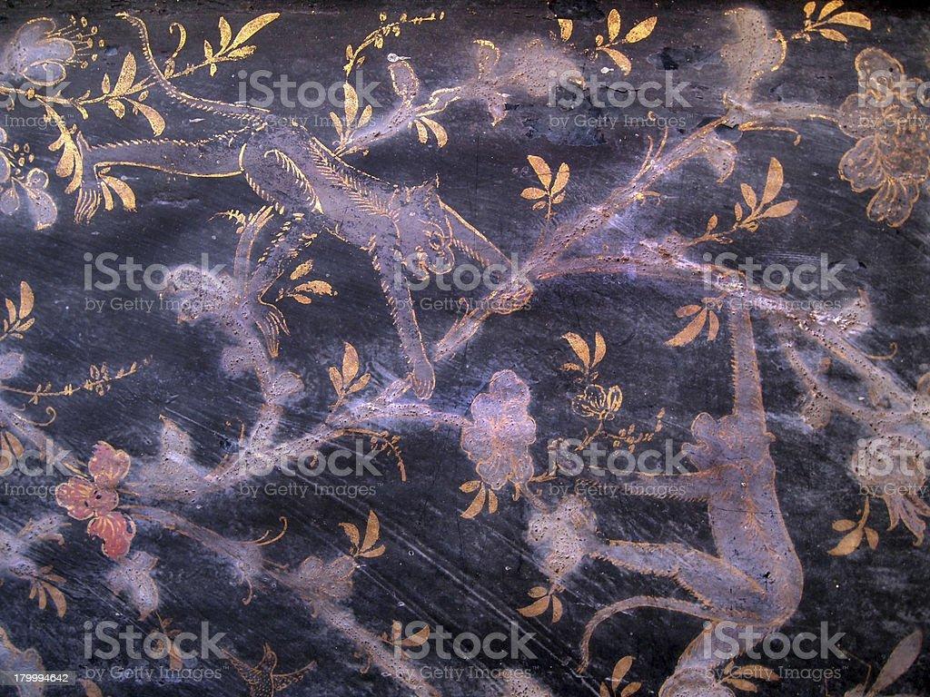 빈티지 전통 태국 스타일 예술직 도색을 관자놀이 왜고너의 벽 royalty-free 스톡 사진