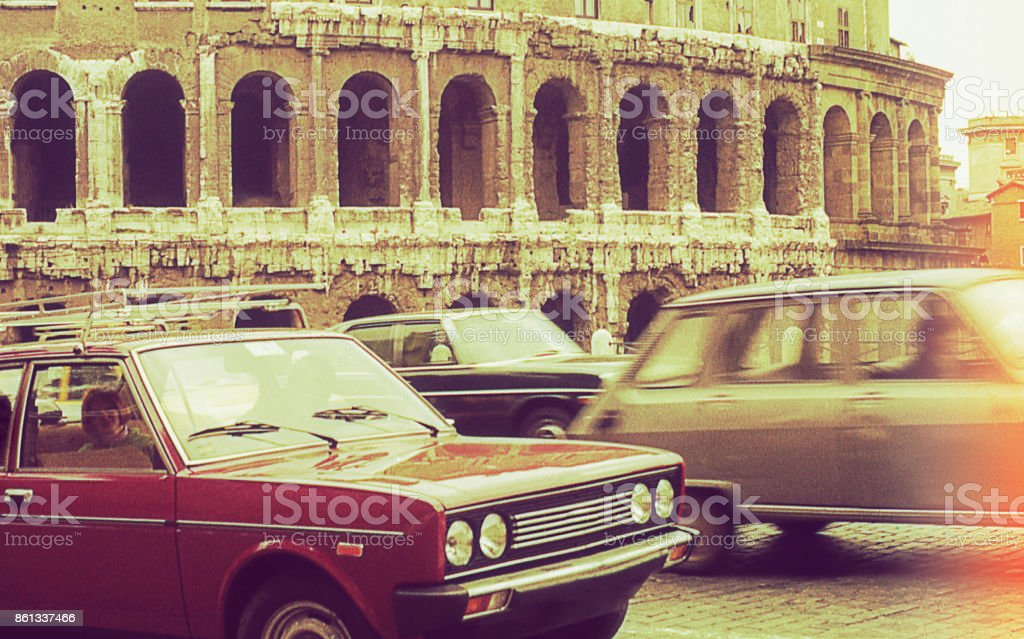Vintage traffic day at Rome stock photo