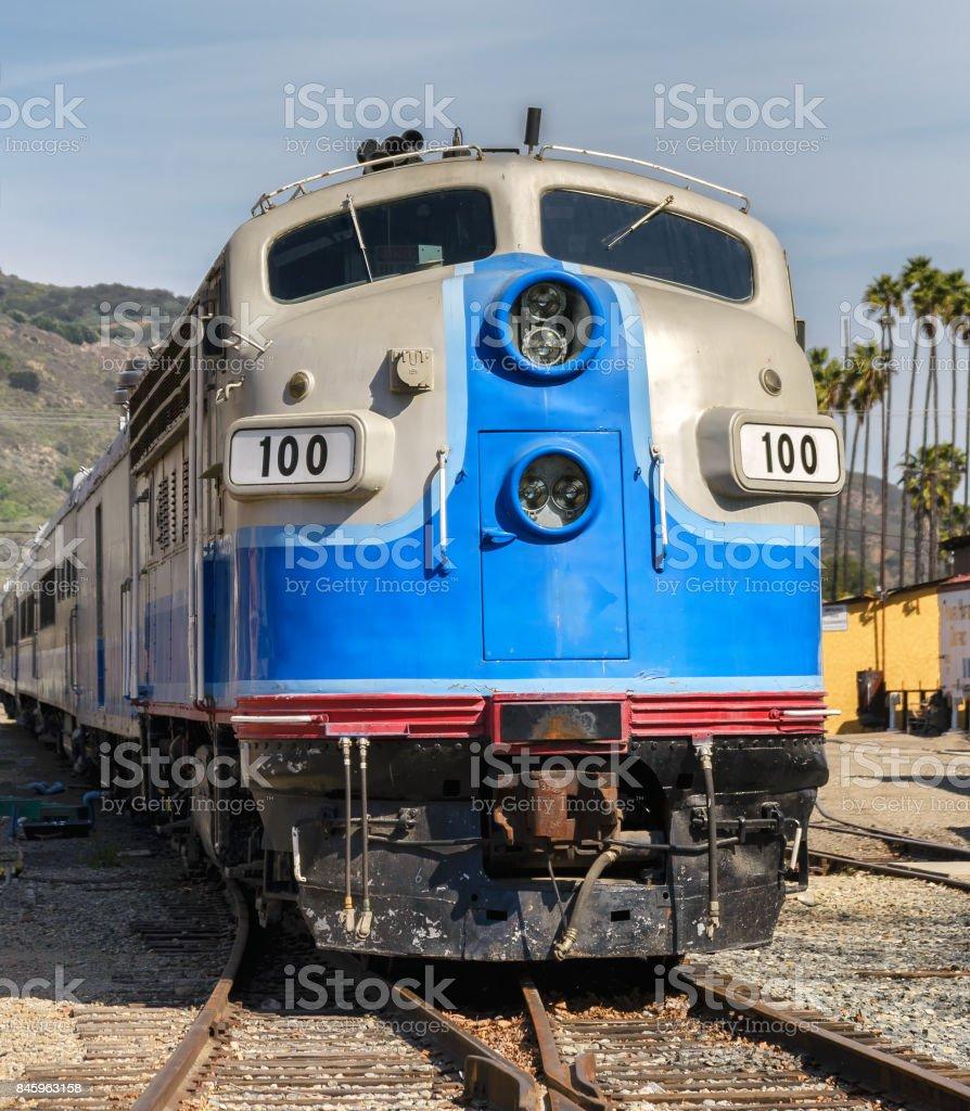 Vintage train locomotive stock photo
