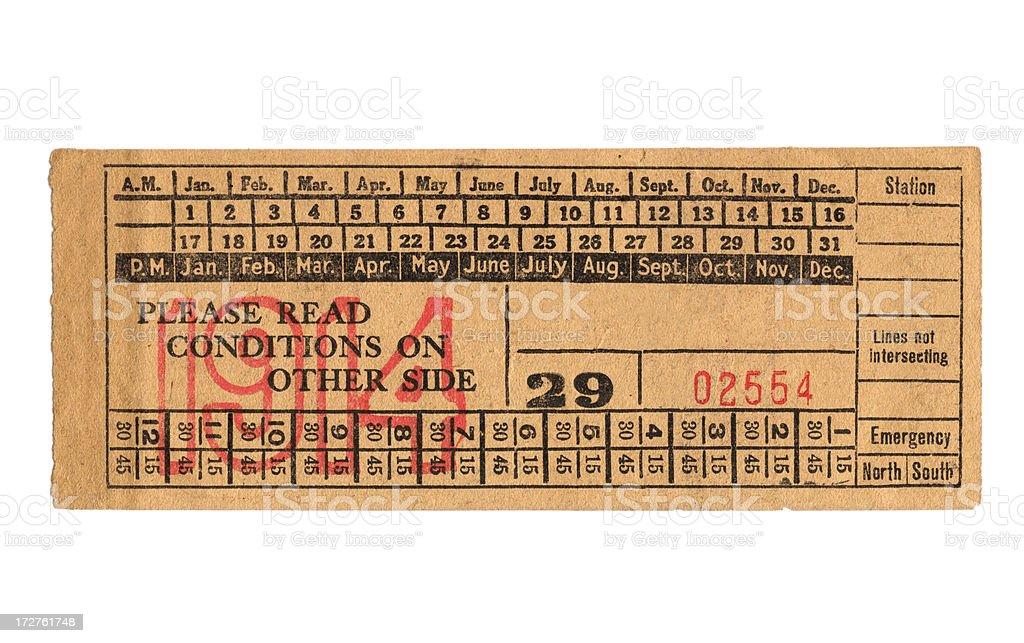 Vintage train ticket stock photo