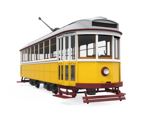 vintage tram isolated - eletrico lisboa imagens e fotografias de stock