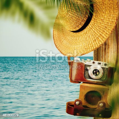 istock Vintage travel background with old camera. 481300279