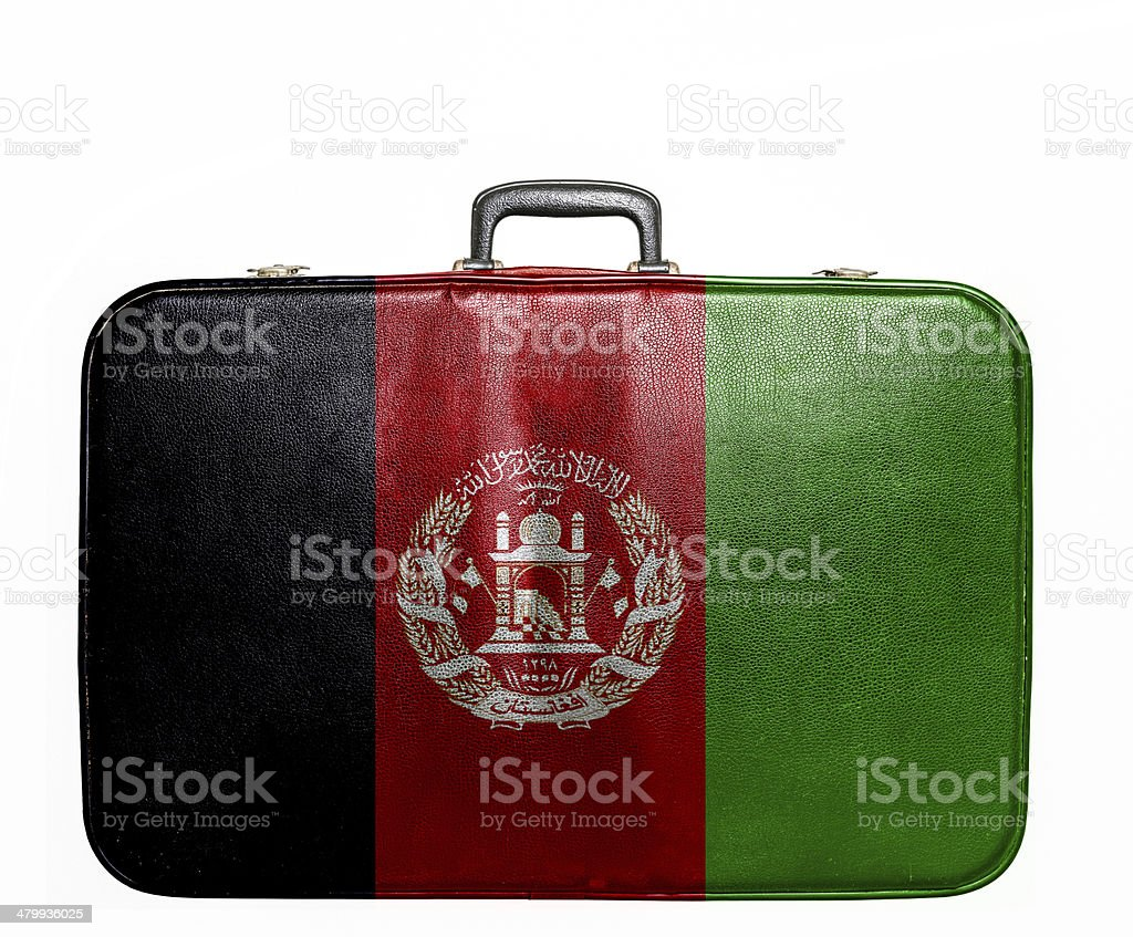 Vintage travel bag with flag of Afghanistan stock photo