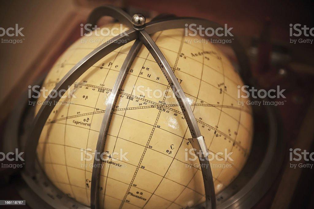 Vintage travel star sky globe in wooden box royalty-free stock photo