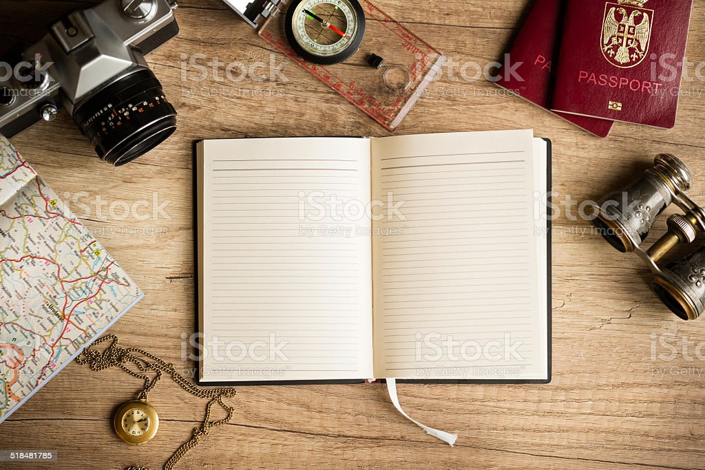 Vintage travel stuff stock photo