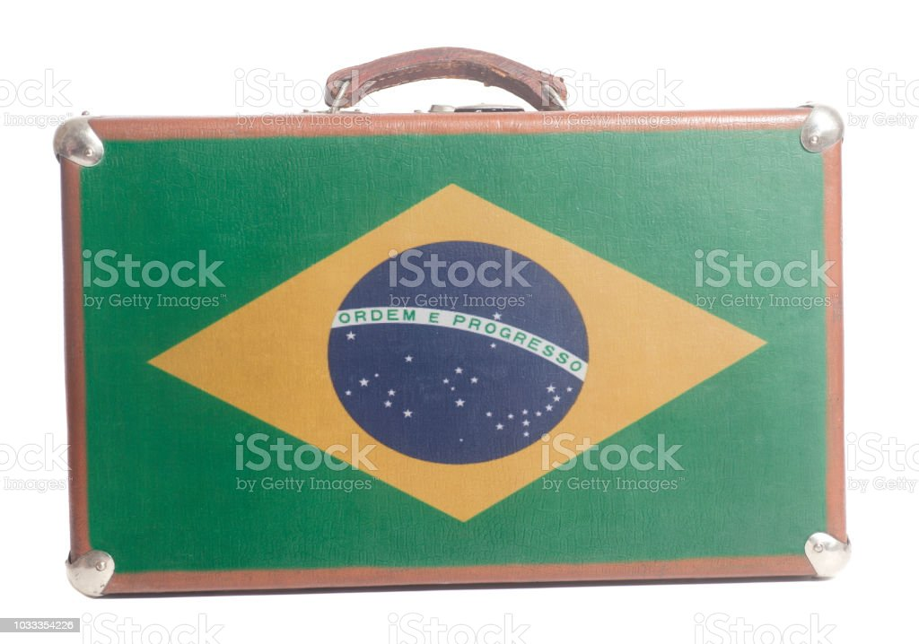 Vintage travel suitcase with Flag of Brazil stock photo
