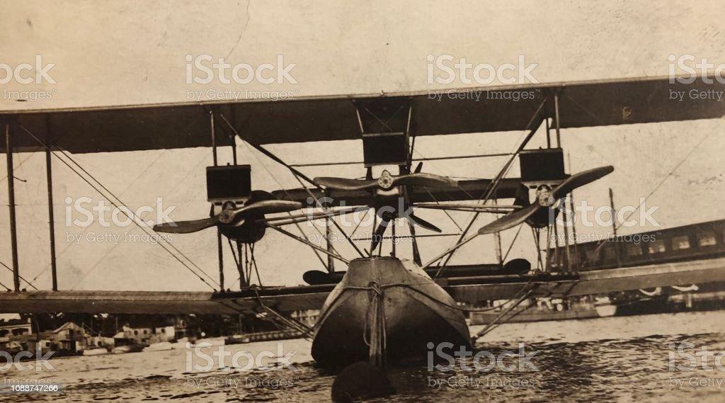 Vintage Tri Motor Sea Plane Designed to land on Water, c1910s/20s. 20th Century Stock Photo