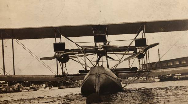 Vintage Tri Motor Sea Plane Designed to land on Water, c1910s/20s. 20th century stock pictures, royalty-free photos & images