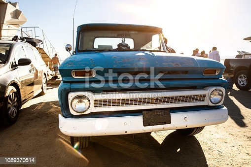 Vintage truck in Southern California beach