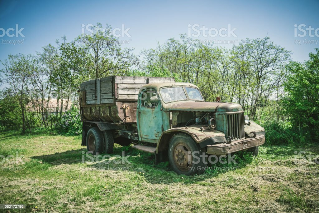 Vintage truck on a country road royalty-free stock photo