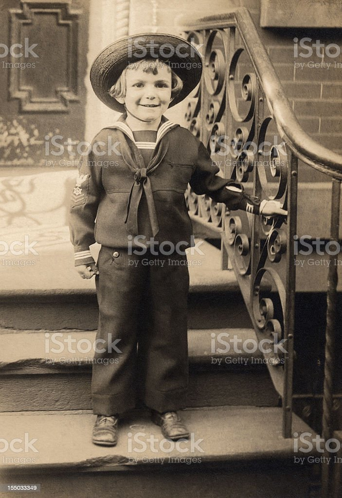 Vintage Turn of the Century Portrait Young Boy stock photo
