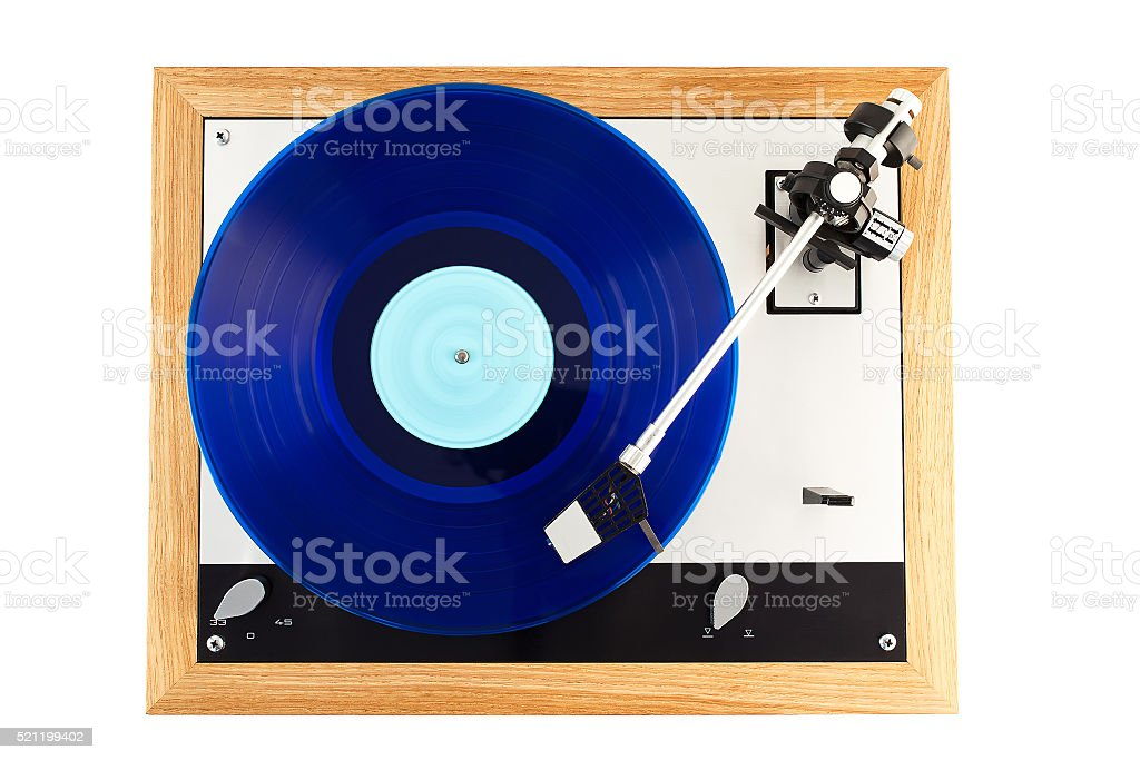 Vintage turntable in action top view stock photo