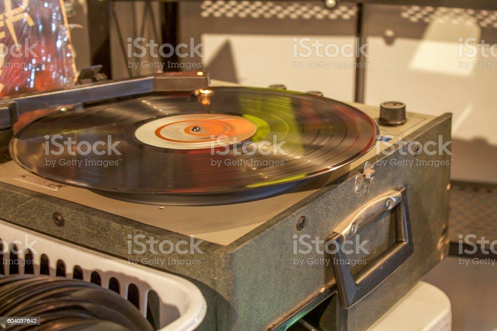 Vintage Turntable Spinning Vinyl Record stock photo