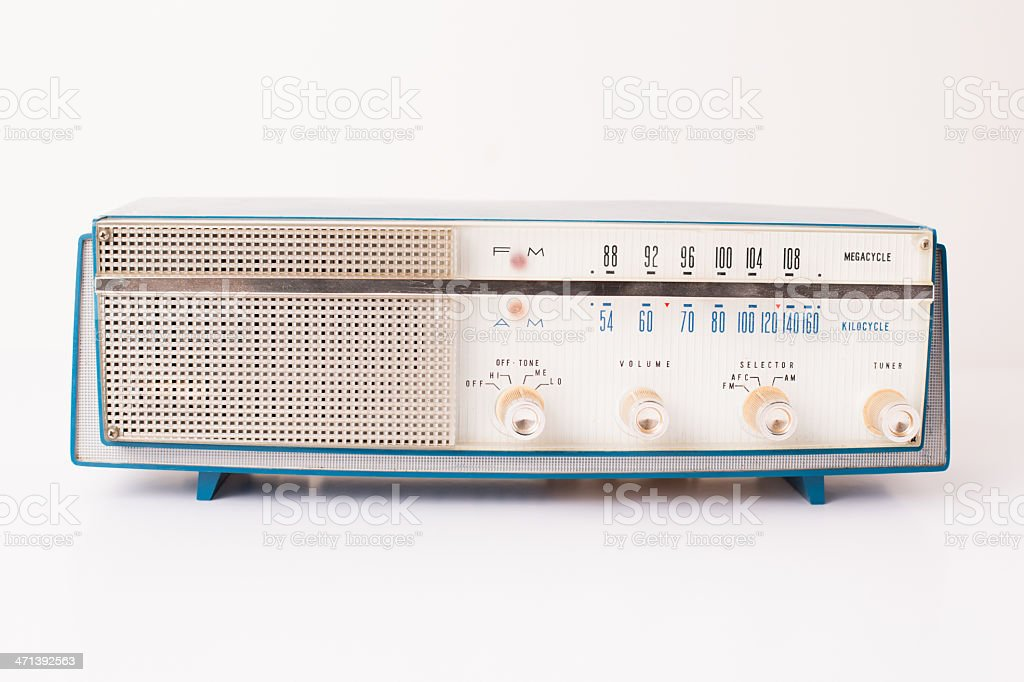 Vintage Turquoise and Silver Radio, Isolated on White stock photo
