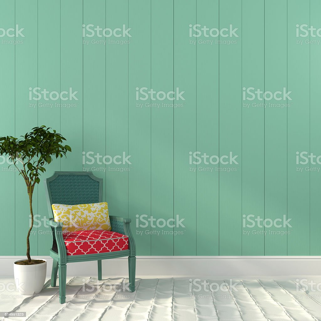 Vintage turquoise chair with colorful décor stock photo