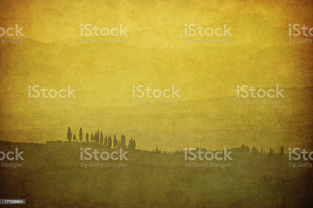 vintage tuscan landscape royalty-free stock photo