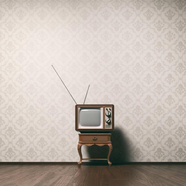 vintage tv-konzept - damast wand stock-fotos und bilder