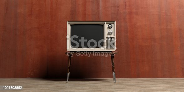 Vintage television on a painted wall background. 3d illustration