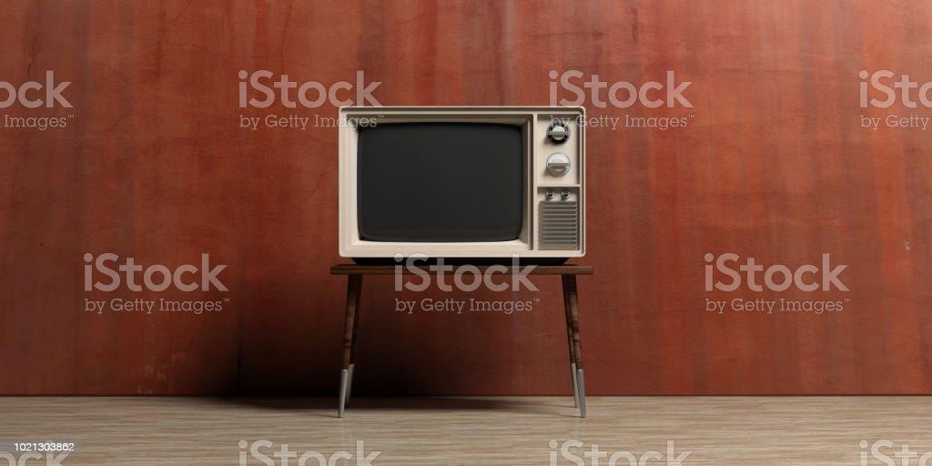 Vintage TV in einem leeren Raum. 3D illustration – Foto