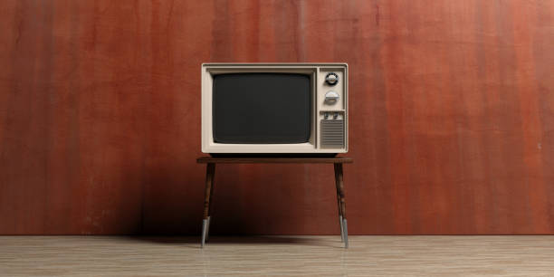 vintage tv in an empty room. 3d illustration - televisor imagens e fotografias de stock