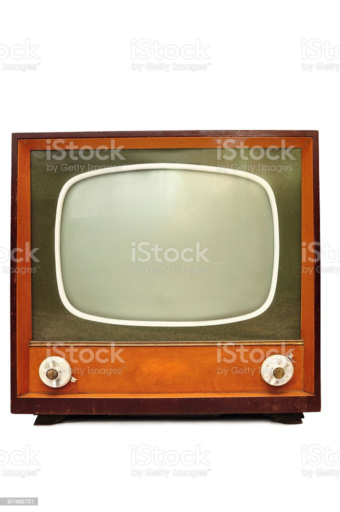 Vintage Tv isolated on white royalty-free stock photo