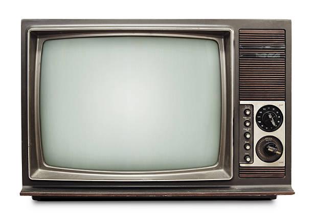 Vintage TV on white background stock photo