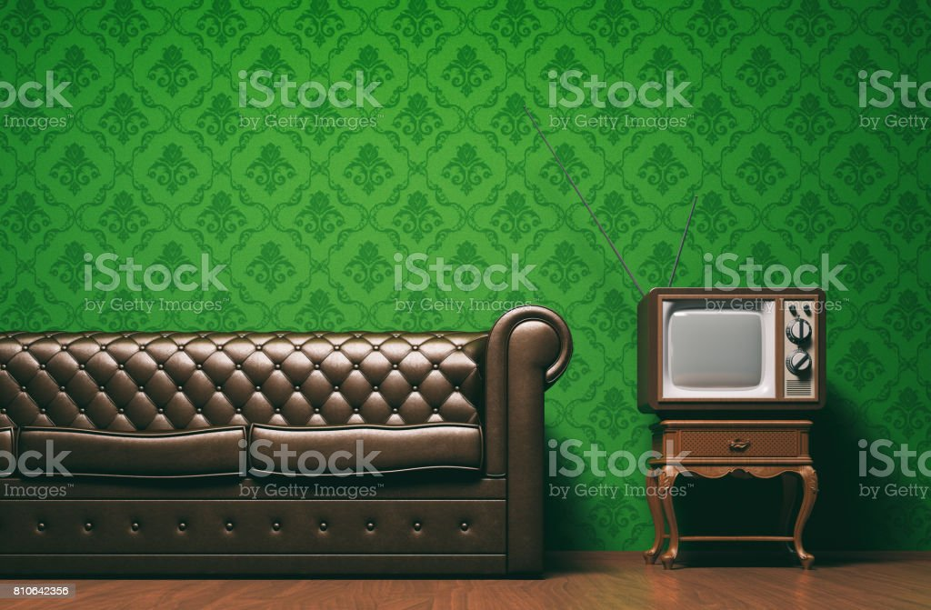 Vintage tv room concept with copyspace stock photo