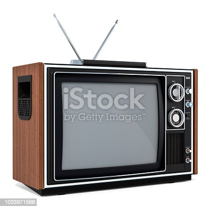 istock Vintage TV set, 3D rendering isolated on white background 1033971566