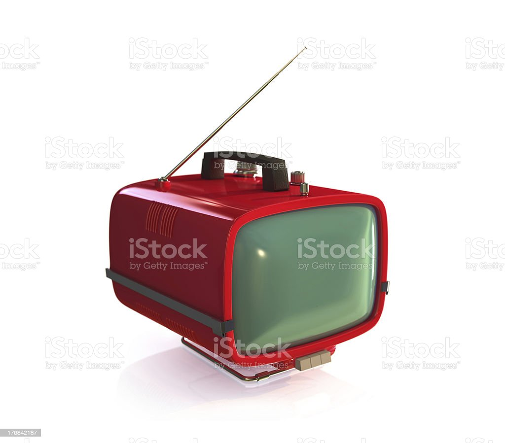 Vintage TV set Red retro TV Set. Isolated on white background. Antenna - Aerial Stock Photo
