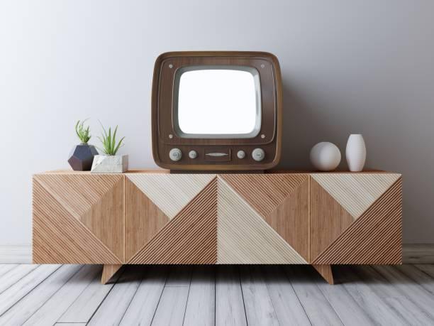 vintage tv mit mock-up bildschirm auf die medienstelle. - raumteiler weiß stock-fotos und bilder