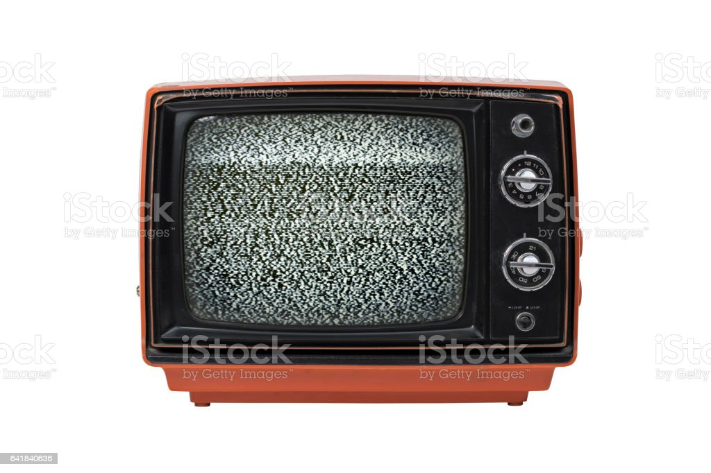 Vintage TV with static isolated stock photo