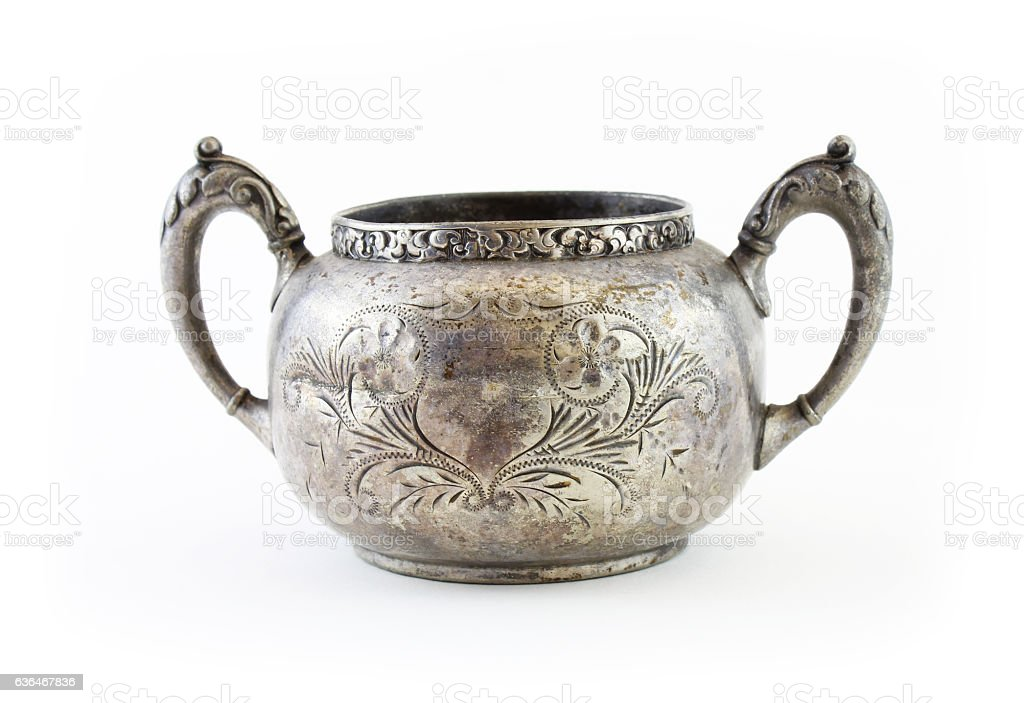 Vintage two handle silver cup stock photo