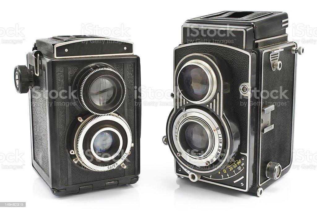 Vintage two lens photo cameras stock photo