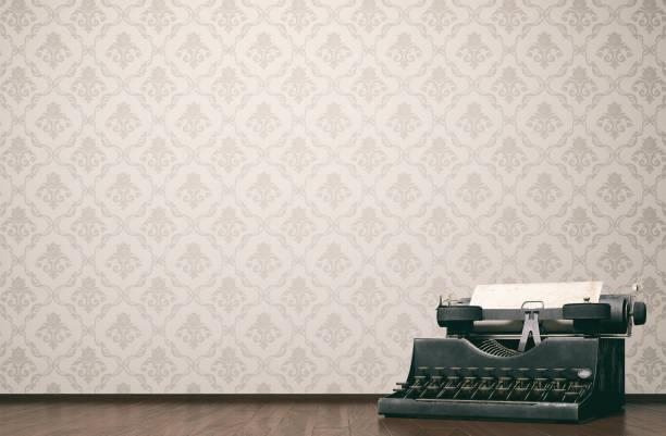 vintage type writer konzept - damast wand stock-fotos und bilder