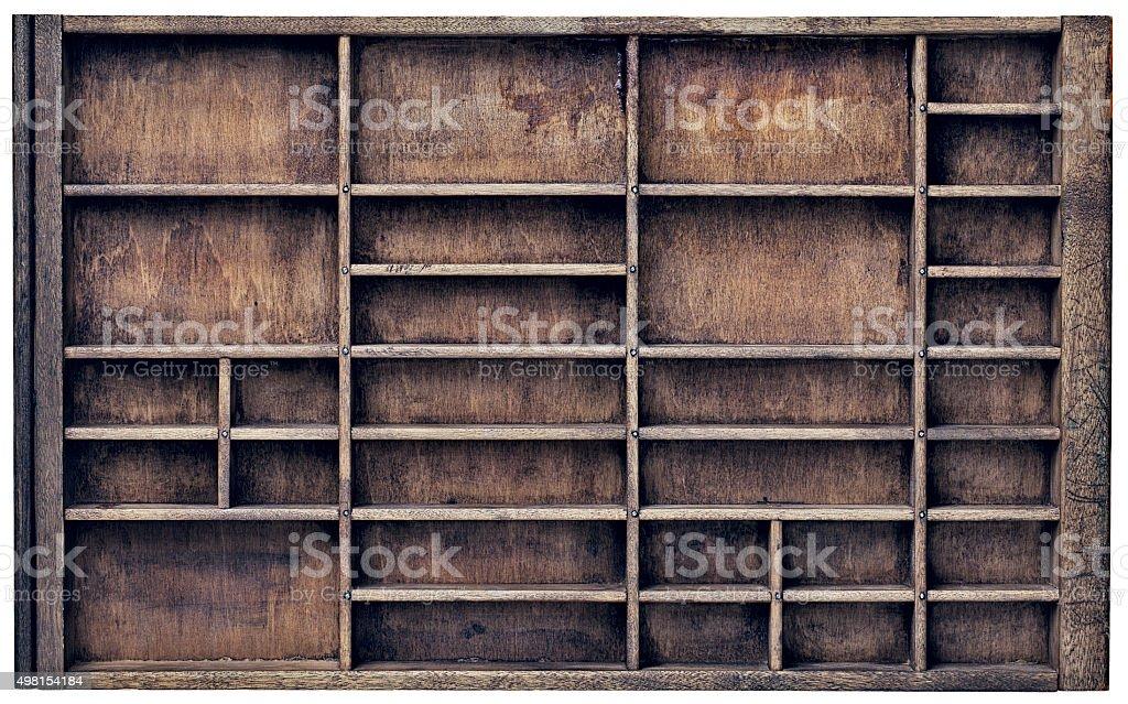 vintage typesette orr printer drawer stock photo