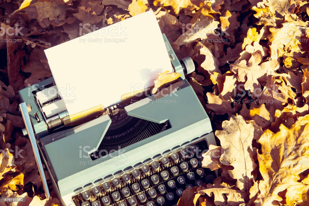 vintage typewriter among yellow-brown autumn leaves in the park stock photo