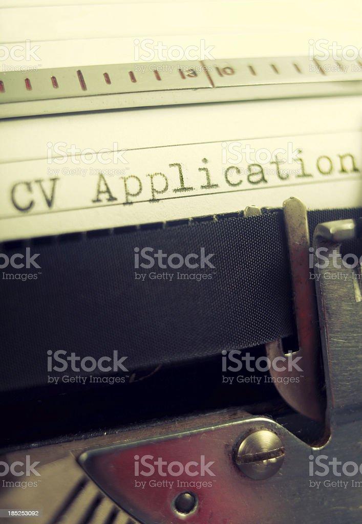 Vintage typewriter CV detail royalty-free stock photo