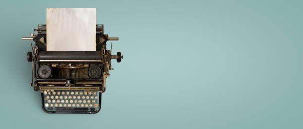 Vintage typewriter header stock photo