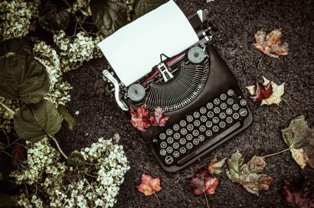 Vintage typewriter in on autumn background stock photo