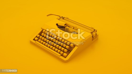istock Vintage Typewriter Isolated. Minimal idea concept. 3d illustration 1172284503