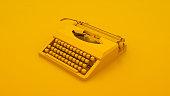 Vintage Typewriter Isolated. Minimal idea concept. 3d illustration.