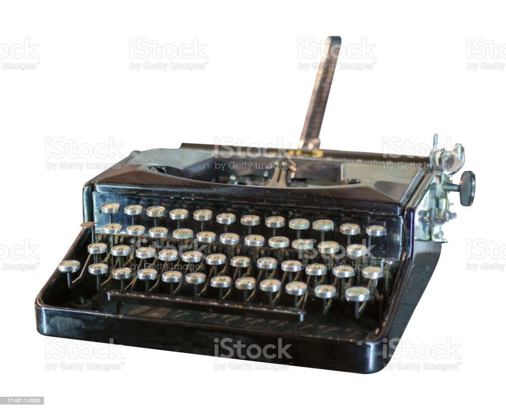 c7199aa896a Vintage typewriter isolated on white background. old typewriter  royalty-free stock photo