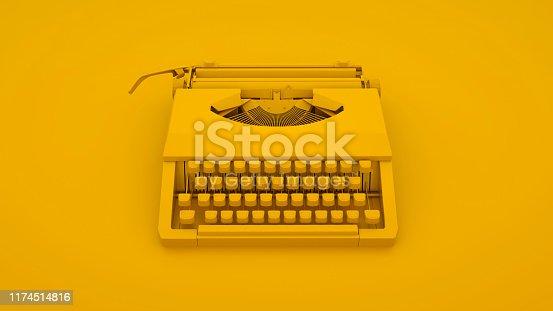Vintage Typewriter isolated on yellow background. 3d illustration.