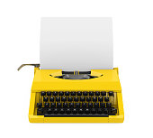 Vintage Typewriter isolated on white background. 3D render