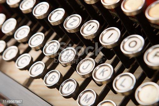 istock vintage typewriter keyboard close up concept for writing, journalism, blogging 1149567957
