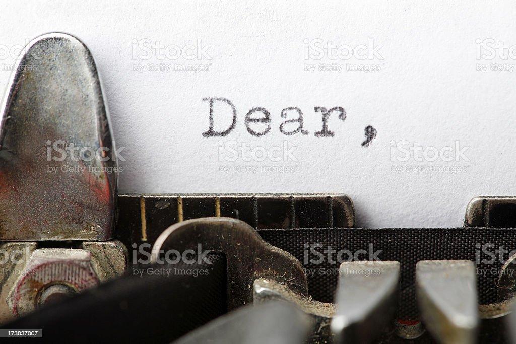 Vintage Typewriter Letter: Dear stock photo