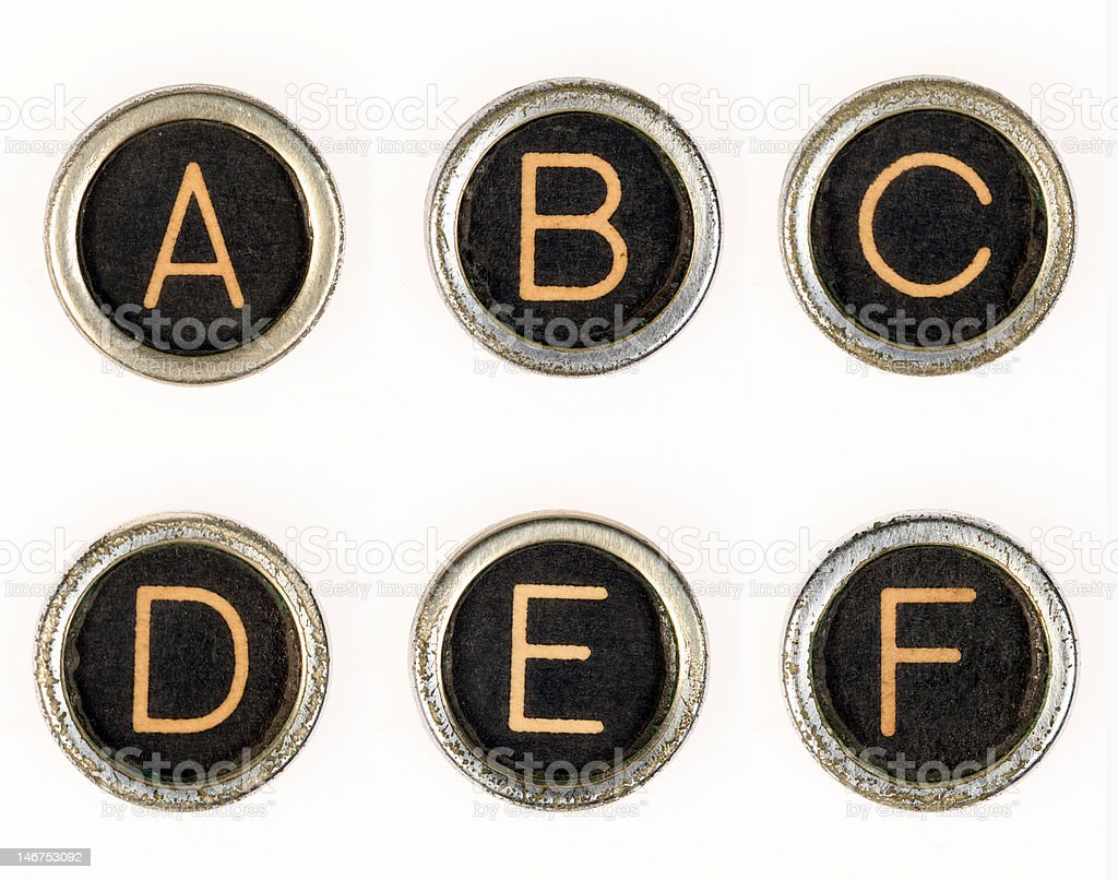 A-B-C-D-E-F vintage typewriter letters stock photo